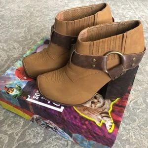 Jeffrey Campbell brown leather cowboy booties